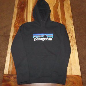 Patagonia Men's P-6 Logo Black Hoody - Medium